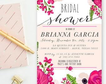 Blush, Fuchsia & Green - Floral Peony Bridal Shower, Wedding Invitations