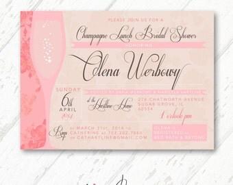Pink Champagne & Floral Bridal Shower Lunch/Brunch Invitations