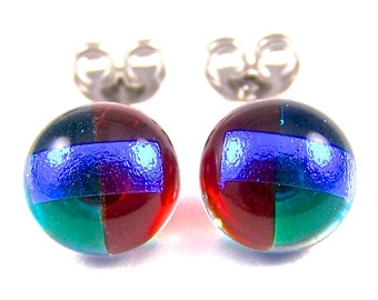 """Tiny Dichroic Stud Earrings - Ruby Red Teal Green Sapphire Blue Dicro Striped - Rock Drop Post - 1/4"""" 10mm"""