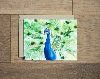 Peacock card - blank card - hand painted peacock
