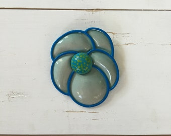 Vintage 60s Brooch/ 1960s Enamel Brooch/ Oversized Psychedelic Blue Painted Brooch