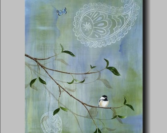 Perch Low by Kimberly Fox...FINE ART PRINT on Canvas or Paper...kids room...nursery art