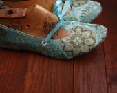 US 8.5 / Euro 38.5 / UK 7, Mermaid Blue Silk Slippers