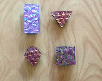 Set of 4 fused glass magnets