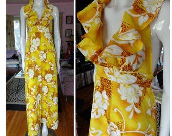1960s Hawaiian Tiki Ruffled Halter Dress Vintage Bright Yellow Poly Hostess Gown Flowers Hippie Polynesian Empire Waist Boho Maxi Tiki Oasis