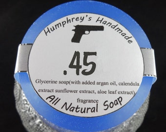 45 Men's Blue Glycerin Shave & Shampoo Soap, 2A Gun Round Soap Puck, Barber Shop Type, Bergamot, Basil, Oakmoss, White Patchouli