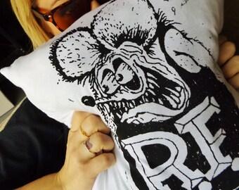 Rat Fink Ed Roth Handmade Upcycled T-Shirt Decorative Throw Pillow