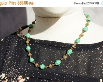 1930's, Art Deco, Brass Filigree Beads, Czech Glass Necklace