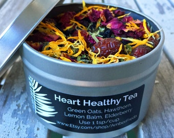 Organic Heart Tea, Herbal Tea - Heart Tonic and SAD Remedy - Organic Herbs - Green Oats, Lemon Balm, Elderberry, Rose Petals, Calendula