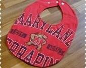 Maryland Terrapins Baby Bib, Recycled T-Shirt Baby Bib, Baby Shower Gift