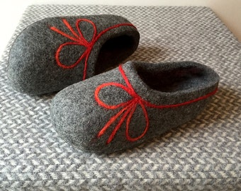 Hand Felted Soft Wool  Slippers . Comfortable and Warm in  Gray with Red Bow decor. Size  EU 38 ready to ship!