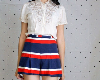 VLV Adorable Striped 1970s Shorts//70's Pleated Short// Pinup Shorts 1970s does 1940s