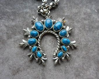 Vintage Blue Cloud, Squash Blossom, Style Faux Turquoise, Tribal Necklace, Single Pendant Signed ART