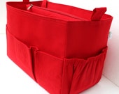 Taller Diaper  Purse organizer for Louis Vuitton Neverful GM in Red fabric