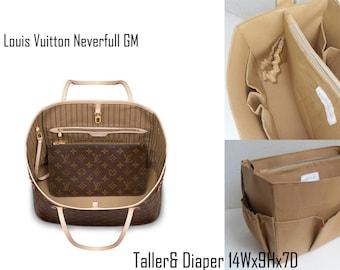 Taller and Diaper Purse organizer for Louis Vuitton Neverful GM in Sand fabric - Diaper Bag organizer