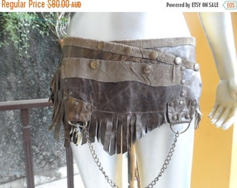 """20% OFF BURNING Man fringed leather belt with stud detail.chain and large pocket ...34"""" to 42"""" waist or hips.."""