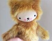 Kawaii Teddy Bear Stuffed Animal in Honey Faux Fur Large