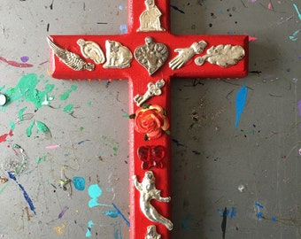 Hammered metal milagros on red wooden cross / mexican craft  // OOAK art / Mexican Love heart wedding gift