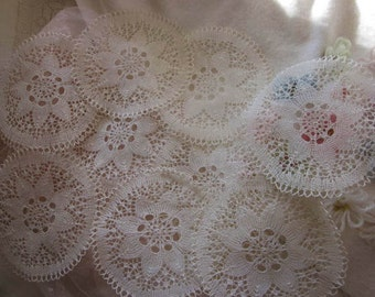 8 Sweetest Little Vintage Ethereal Lacy Doilies. Unused.