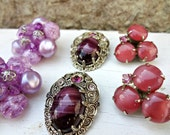 Vintage Earrings Crafting Pieces / Brooch Bouquet Filler / Altered Art or Assemblage Pieces / Crafting Jewelry / Cluster Clips