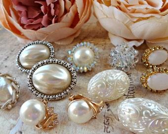 11 pc Vintage Earrings / Wedding Whites / Cluster / Lot of Earrings / Bouquet Supplies / Orphan Earrings (F11)