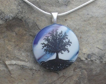 Blue Tree of Life Necklace Dichroic Fused Glass Tree Pendant