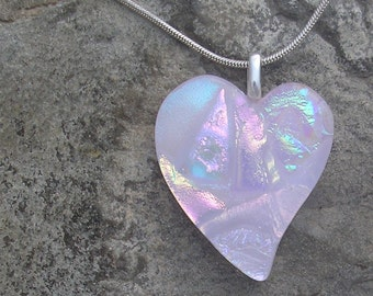 Pink Heart Pendant Fused Dichroic Glass Heart Necklace