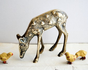Vintage Brass Grazing Deer Figurine