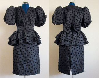 Black Party Dress - Size 11 / 12 - 1980s Peplum Skirt, Puffed Sleeves, Bow