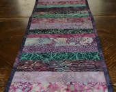 Purple Batik Table Runner, Dresser Scarf, Quilted Table Runner