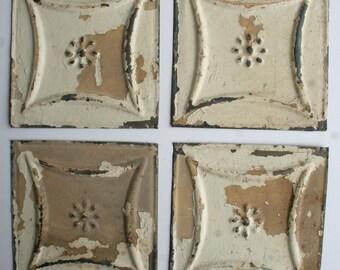 Genuine Antique Ceiling Tin -- 6 inch Tiles --  Crafts, Backsplashes, Birdhouses -- E18