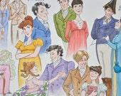 Jane Austen's Heroes & Heroines: Original Watercolour Painting