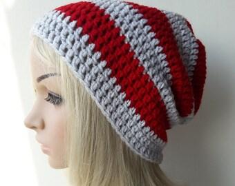 Wonens stripe beanie, slouch hat, crochet beanie mens beanie hat, , crochet mens hat, beanie for men