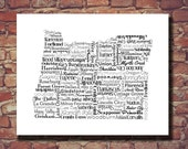 Oregon Print, Oregon Map, OR, State Art, State Map, Print, Wedding Gift, Personalized, Print, Custom, Cities, City, Housewarming Gift, Bend