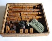 Antique Rubber Stamp Sign Marker Set in Wood Box