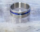 Titanium Thin Blue Line Ring Wedding Band V1.5