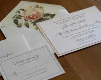 Vintage Floral Wedding Invitation - Letterpress Wedding Invitation - Elegant Wedding Invitation - Formal Wedding Invitation - Style W-39