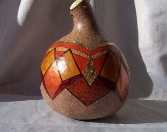 Large multicolor geometric gourd box. 1909.