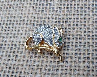 Vintage Figural Chrystal Rhinestone and Gold Tone and Silver Tone Mouse Tack Pin