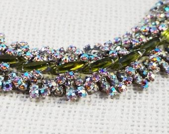 Large Dimensional Aurora Borealis and Olive Green Rhinestone Bracelet