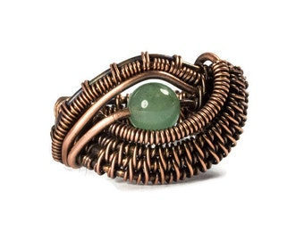 Green Size 9 Wire Ring, Copper Wire Wrapped Aventurine Jewelry, Evil Eye, Women's Statement, Gift for Mom, Woman Birthday