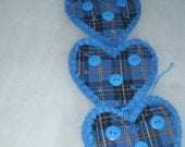 Now HALF PRICE Christmas Ornaments Blue Felt Heart Ornaments With Blue Plaid Homespun Trim and Bright Blue Buttons Handstitched