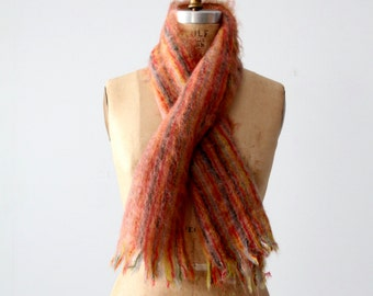 vintage mohair scarf, striped Scottish wool scarf