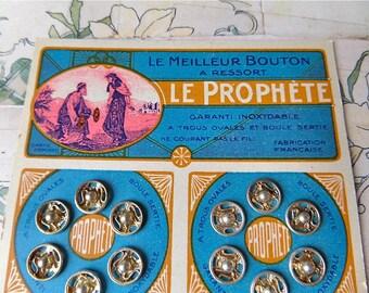 "French Vintage 1900 Dealer Snaps Buttons Cardboard "" LE PROPHETE"""