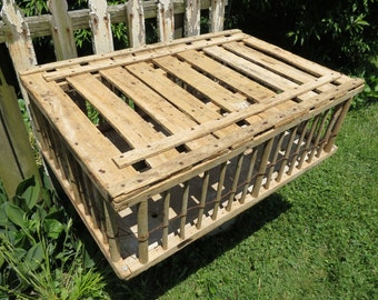 Vintage Wooden Chicken Coop Crate.