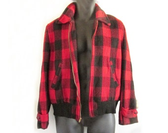 1940s-50s red plaid wool bomber jacket