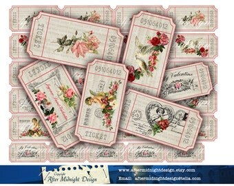 Valentine Tickets No 3 Digital collage sheet, set of 6 strips, Vintage image, Vintage tags, French tickets
