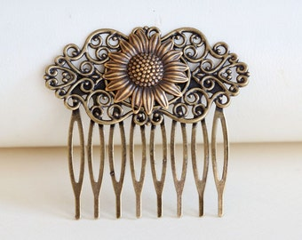 Sunflower Brass Hair Comb, Wedding Bridal Hair Comb.Flowers Collage Hair Comb, Bridal Bridesmaid Comb,Summer,Gift for her