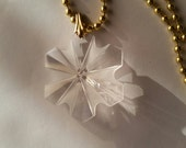 NEW HOLIDAY GIFTS - Snowflake Crystal Necklace - Vintage Bead and Gold Ball Chain