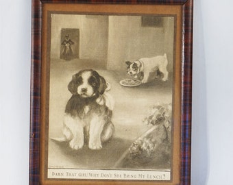 Vintage Framed Print Little Dogs by L G Humphreys